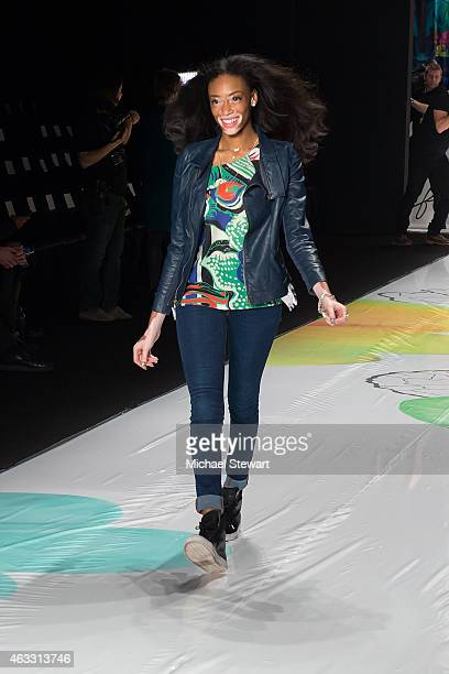 Model Winnie Harlow attends Desigual show during MercedesBenz Fashion Week Fall 2015 at The Theatre at Lincoln Center on February 12 2015 in New York...