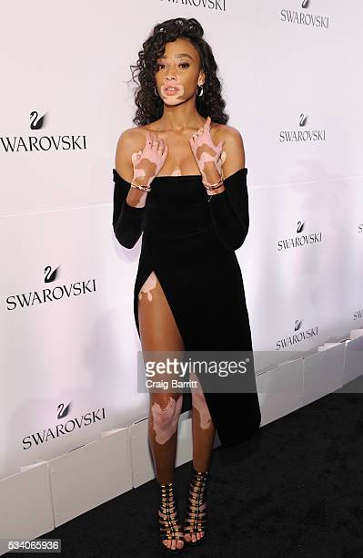 Model Winnie Harlow attends Swarovski #bebrilliant at The Weather Room at the Top of the Rock on May 24 2016 in New York City