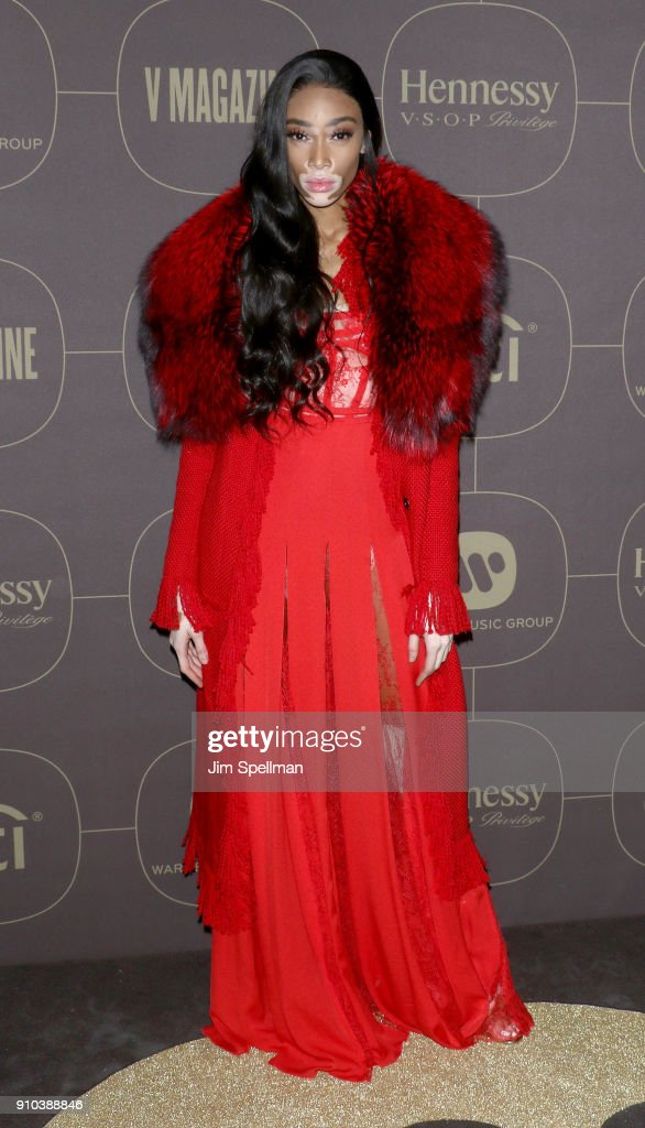 Model Winnie Harlow attends the 2018 Warner Music Group Pre- Grammy Celebration at The Grill & The Pool Restaurants on January 25, 2018 in New York City.