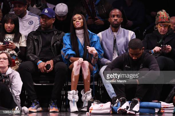 Model Winnie Harlow attends the game between the Los Angeles Clippers and the Brooklyn Nets at Barclays Center on November 17 2018 in the Brooklyn...