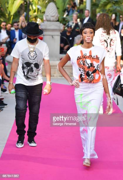 Model Winnie Harlow attends the/walks the runway at the Philipp Plein Cruise Show 2018 during the 70th annual Cannes Film Festival at on May 24 2017...