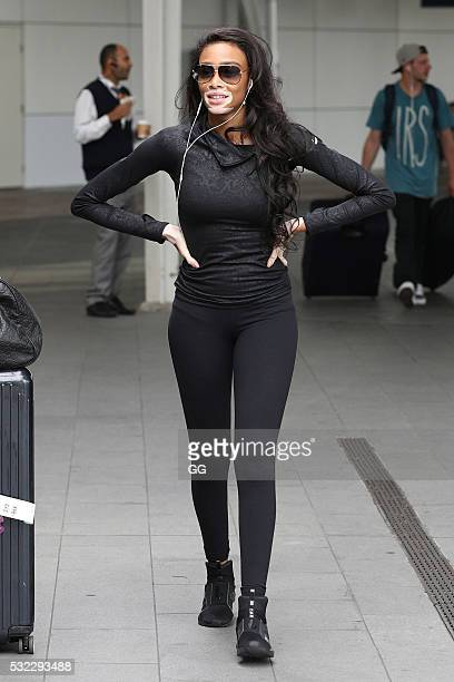 Model Winnie Harlow is seen arriving at Sydney Airport on May 18 2016 in Sydney Australia Harlow is in Syndey for MBFW Australia