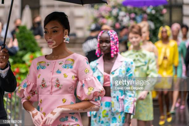 Model Winnie Harlow is seen walking to the runway at the Moschino by Jeremy Scott Spring Summer 2022 fashion show during New York Fashion Week at...