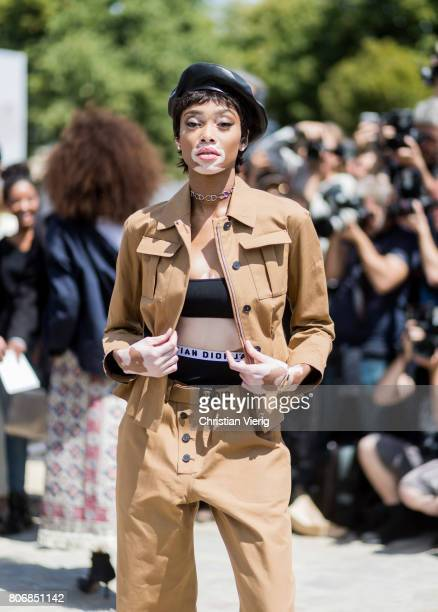 Model Winnie Harlow outside Dior during Paris Fashion Week Haute Couture Fall/Winter 20172018 Day Two on July 3 2017 in Paris France