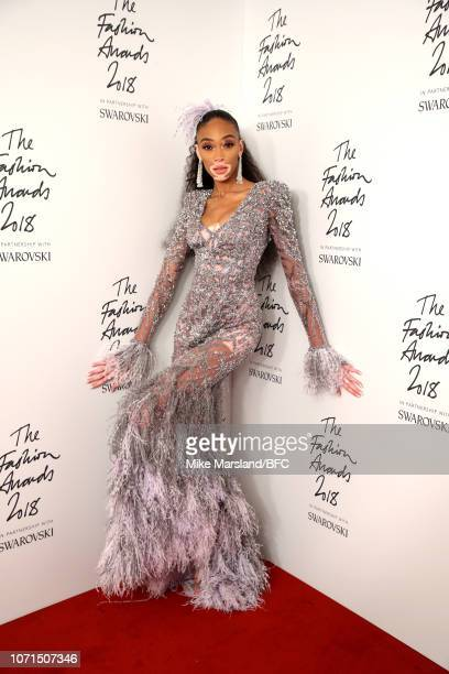 Model Winnie Harlow poses in the winners room during The Fashion Awards 2018 In Partnership With Swarovski at Royal Albert Hall on December 10 2018...