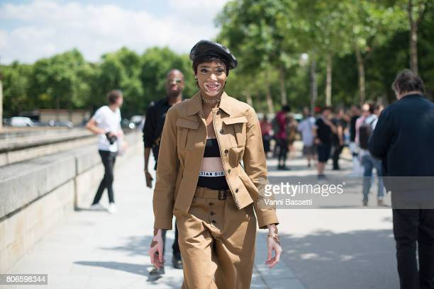 Model Winnie Harlow poses wearing Dior after the Dior show at the Hotel National des Invalides during Paris Fashion Week Haute Couture FW 17/18 on...