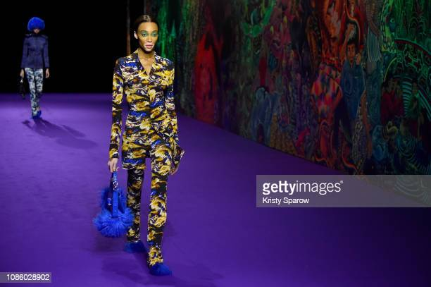 Model Winnie Harlow walks the runway during the Kenzo Menswear Fall/Winter 20192020 show as part of Paris Fashion Week on January 20 2019 in Paris...