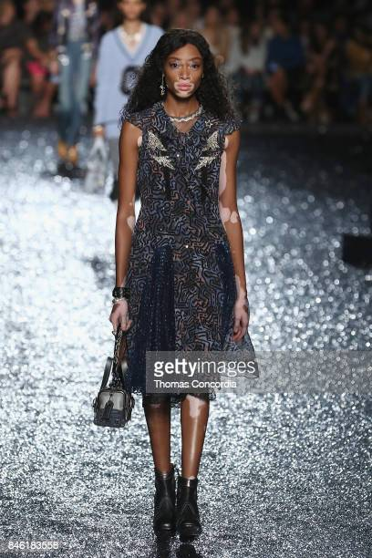 Model Winnie Harlow walks the runway for Coach Spring 2018 fashion show during New York Fashion Week at Baketball City at Pier 36 on September 12...