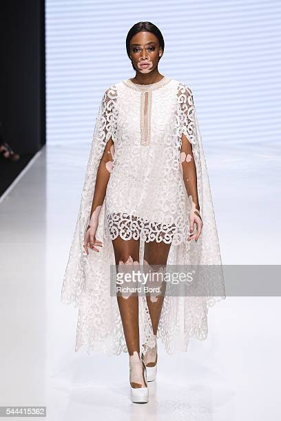 Model Winnie Harlow walks the runway for Sebastian Gunawan during the Couturissimo Fall/Winter 20162017 show as part of Paris Fashion Week on July 3...