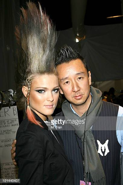 Model with Eric Kim designer during MercedesBenz Fall 2007 LA Fashion Week at Smashbox Studios Monarchy Collection Backstage and Front Row at...