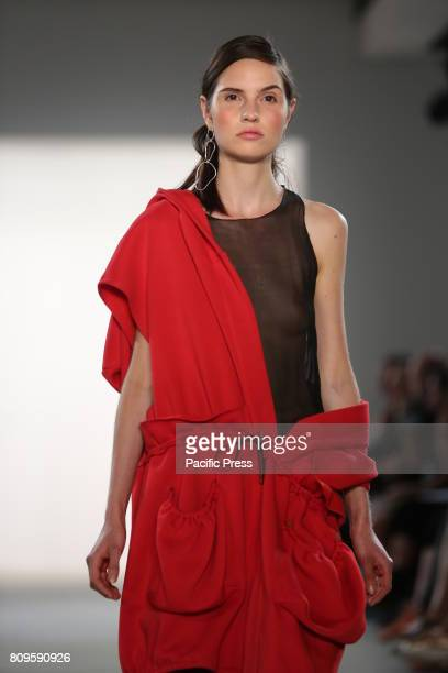 Model with IOANA CIOLACU collection on the catwalk IOANA CIOLACU showcases its latest Spring/Summer 2018 Collections in the Department store Jandorf...