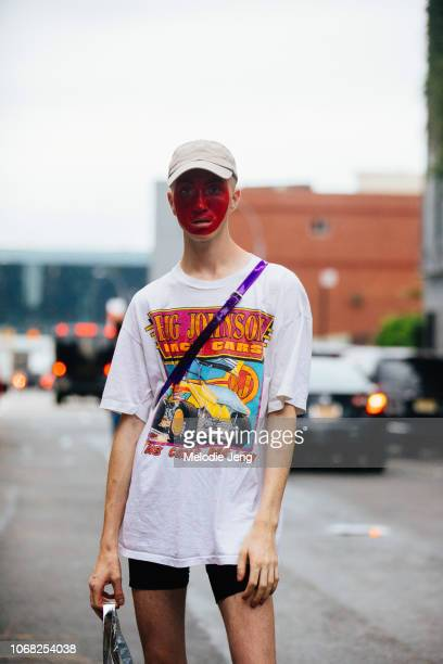 A model with red face paint after the Monse show during New York Fashion Week Spring/Summer 2019 on September 7 2018 in New York City