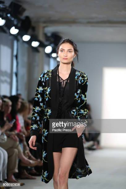 Model with the LAUREL collection on the catwalk LAUREL showcases its latest Spring/Summer 2018 Collections in the Department store Jandorf in the...