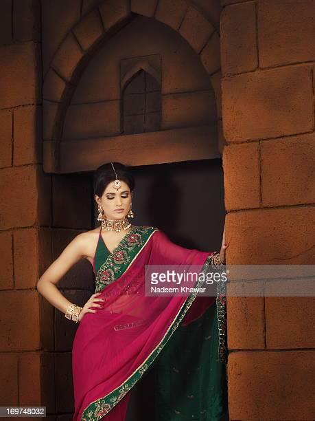 Model withn Sari dress