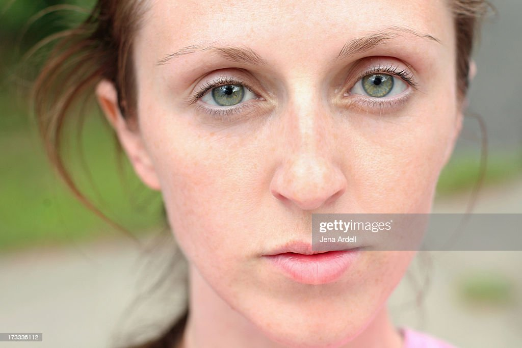 Model Without Makeup No Makeup Green Eyes Freckles Stock Photo