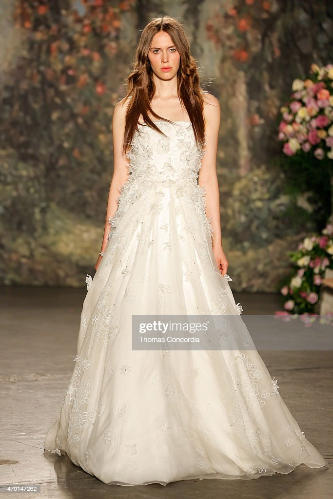 A Model Wlaks The Runway Wearing Jenny Packham Bridal Spring 2016 At Industria Superstudio On April