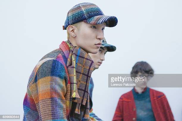 Model Wooseok Lee is seen backstage ahead of the Missoni show during Milan Men's Fashion Week Fall/Winter 2017/18 on January 15 2017 in Milan Italy