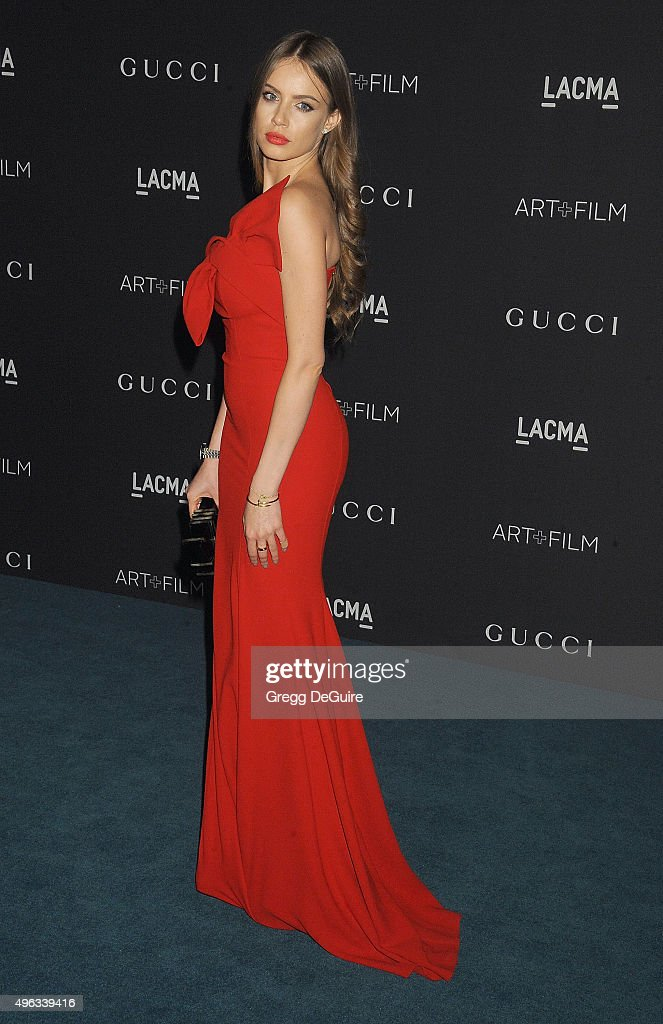 Model Xenia Tchoumitcheva arrives at the LACMA 2015 Art+Film Gala Honoring James Turrell And Alejandro G Inarritu, Presented By Gucci at LACMA on November 7, 2015 in Los Angeles, California.