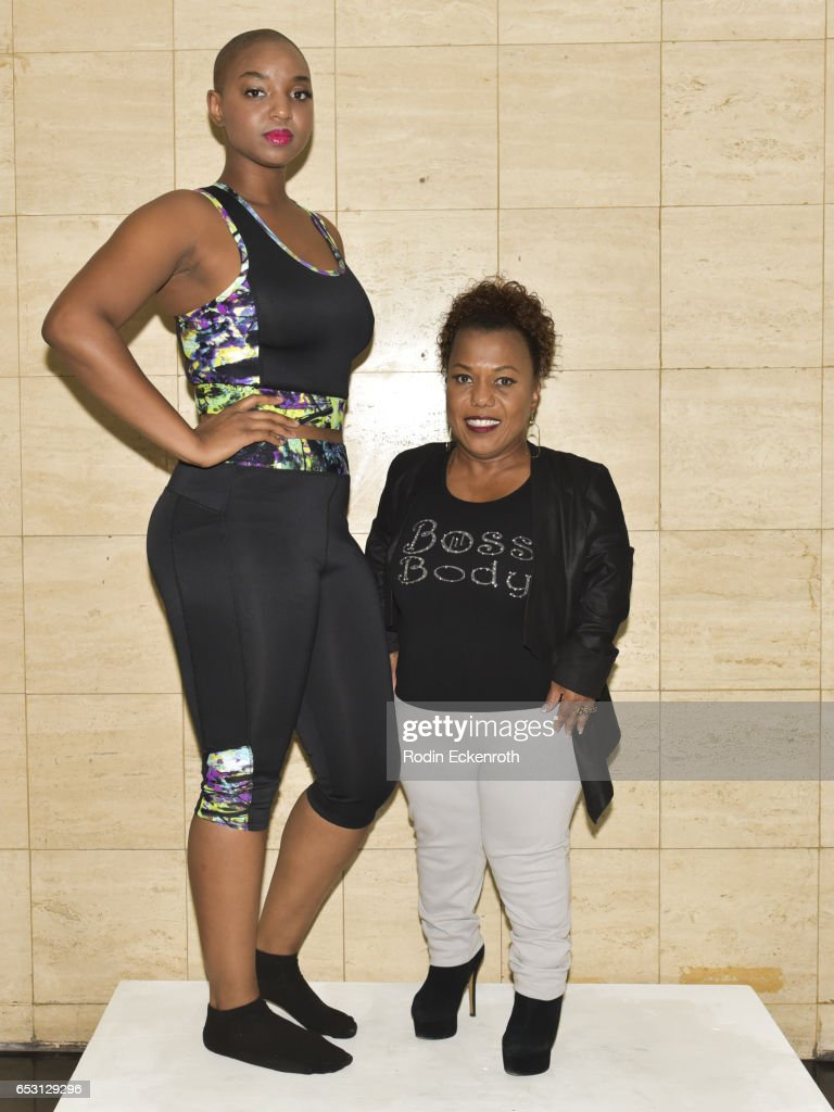 Model Yani (L) and actress/designer Tonya Renee Banks pose for portrait at Tonya Renee Banks' debut of 'Lil Boss Body' clothing line at Fathom on March 13, 2017 in Los Angeles, California.