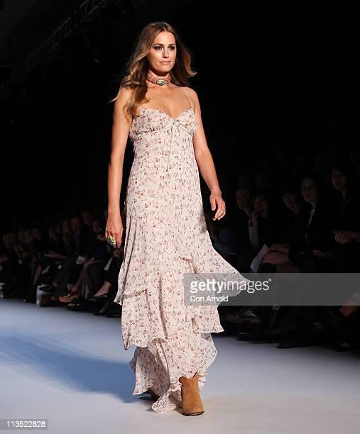 Model Yasmin Le Bon showcases designs by Little Joe Woman on the catwalk during Rosemount Australian Fashion Week Spring/Summer 2011/12 at Overseas...