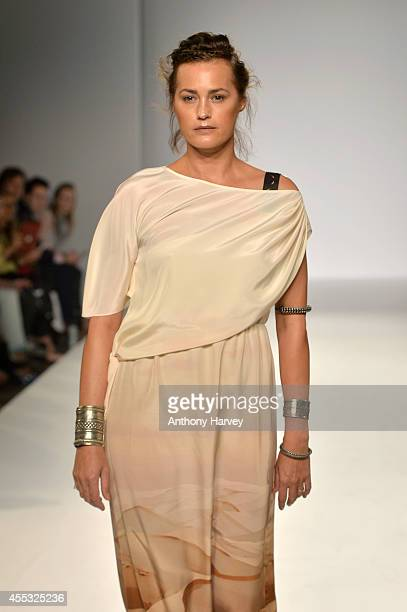 Model Yasmin Le Bon walks the runway at the Gyunel show during London Fashion Week Spring Summer 2015 at Bloomsbury Ballroom on September 12 2014 in...