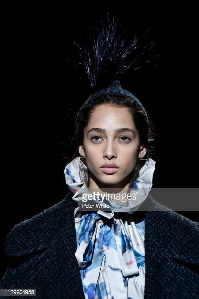 Model Yasmin Wijnaldum accessories detail walks the runway at the Marc Jacobs fashion show during New York Fashion Week on February 13 2019 in New...