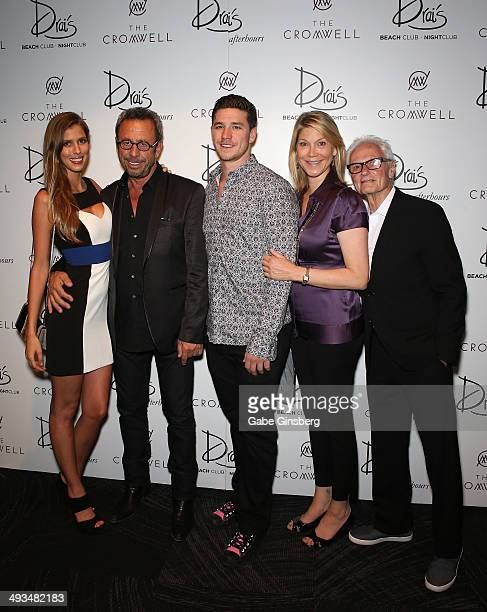 Model Yolanda Krupiarz nightclub entrepreneur Victor Drai and his son Dustin Drai actress Loryn Locklin and a guest arrive at The Cromwell Las Vegas...