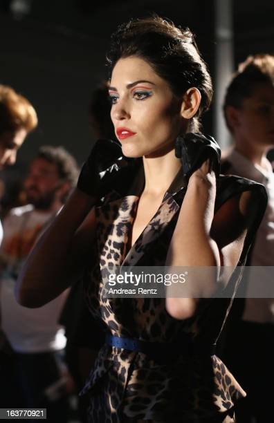 Model Yolanthe Sneijder backstage ahead of the Adl Cengiz Abazoglu show during MercedesBenz Fashion Week Istanbul Fall/Winter 2013/14 at Antrepo 3 on...