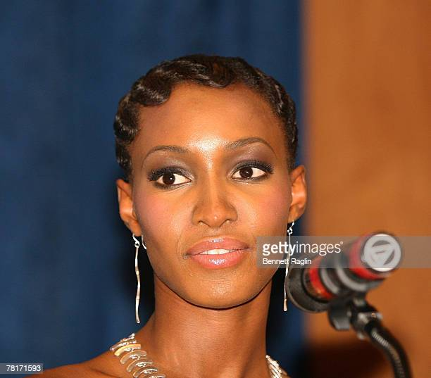 Model Yomi Abiola addresses the gathering at the opening night screening of the Aids Film Festival at the United Nations on November 29 2007 in New...