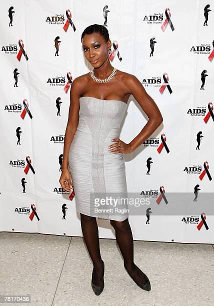 Model Yomi Abiola attends the opening night screening of the Aids Film Festival at the United Nations November 29 New York New York