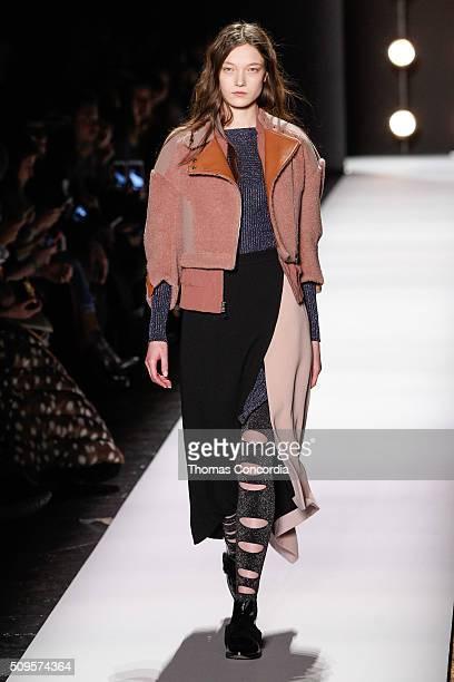 Model Yumi Lambert walks the runway at the BCBGMAXAZRIA Fall 2016 fashion show during New York Fashion Week at The Arc, Skylight at Moynihan Station...