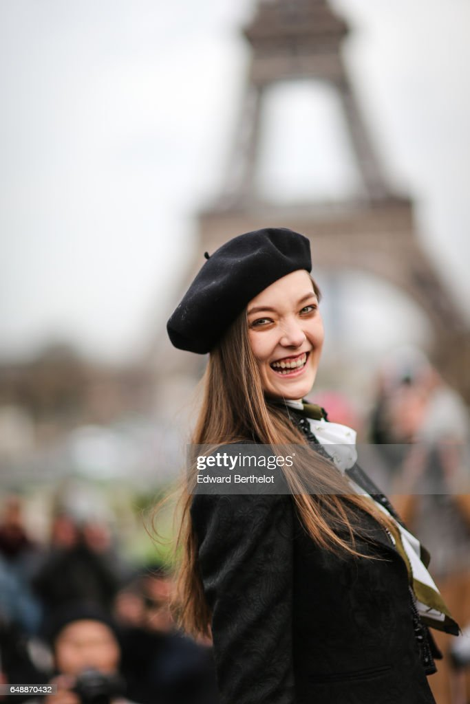 Model Yumi Lambert wears a black beret hat, outside the Hermes show, during Paris Fashion Week Womenswear Fall/Winter 2017/2018, on March 6, 2017 in Paris, France.