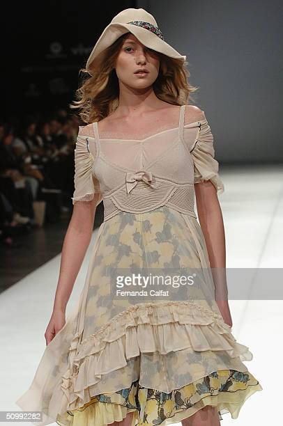 Model Yves Kolling walks the runway at the Patachou 2005 Spring/Summer collection during the Sao Paulo Fashion Week June 17 2004 in Sao Paulo Brazil