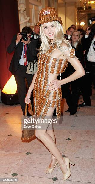 Model Yvonne Hoelzel sporting a dress made from gingerbread attends the Cinema for Peace Charity Gala on 12 February 2007 in Berlin Germany The gala...