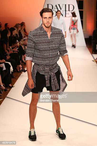 Model Zac Stenmark showcases designs by Vanishing Elephant at the David Jones Spring/Summer 2014 Collection Launch at David Jones Elizabeth Street...