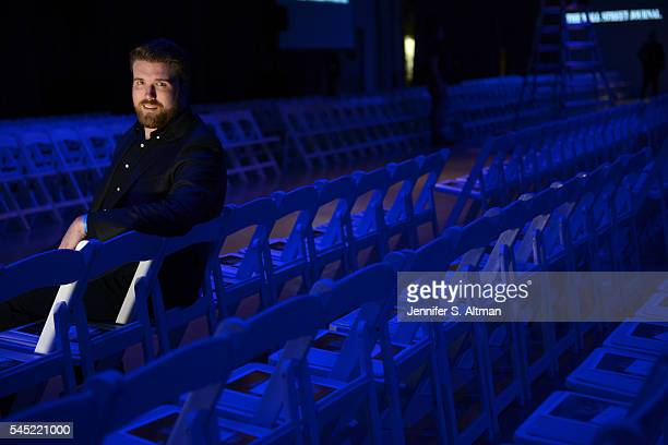 Model Zach Miko is photographed for New York Times on April 4 2016 at the Intrepid Sea AIr Space Museum while attending the Jeffrey Fashion Cares...