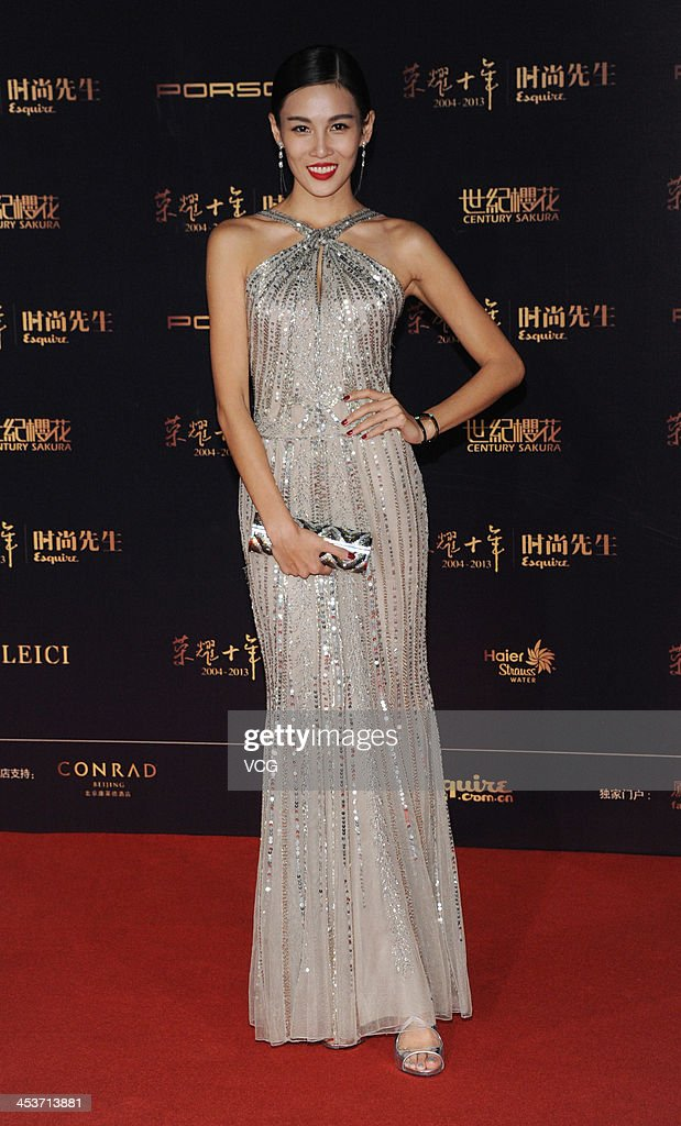 Model Zhang Lanxin attends Esquire Men Of The Year Awards 2013 at Oriental Theatre on December 4, 2013 in Beijing, China.