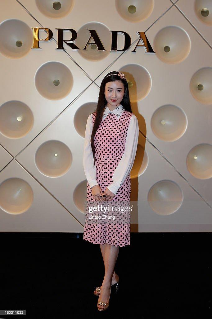 Model Zhang Xin Yuan attends Miuccia Prada and Catherine Martin Dress Gatsby Exhibition in Miu Miu store on September 10, 2013 in Shanghai, China.