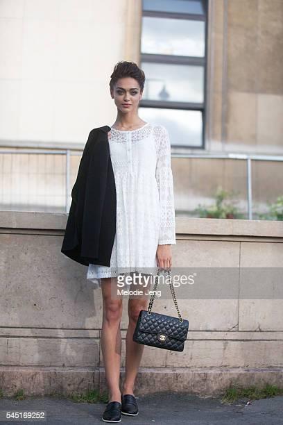 Model Zhenya Katava at the Armani Prive show at Palais de Chaillot on July 5 2016 in Paris France