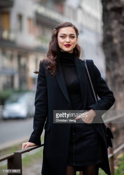Model Zhenya Katava is seen outside Dolce Gabbana on Day 5 Milan Fashion Week Autumn/Winter 2019/20 on February 24 2019 in Milan Italy