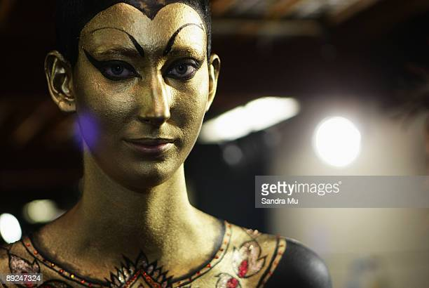 Model Zhoe Granger is seen backstage during the New Zealand Body Art Awards at the Bruce Mason Centre on July 25 2009 in Auckland New Zealand