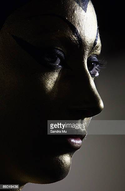 Model Zhoe Granger looks on backstage during the New Zealand Body Art Awards at the Bruce Mason Centre on July 25 2009 in Auckland New Zealand