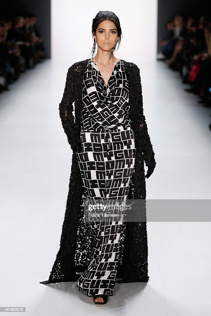 Model Zoe Helali walks the runway at the Guido Maria Kretschmer show during the Mercedes-Benz Fashion Week Berlin Autumn/Winter 2015/16 at Brandenburg Gate on January 21, 2015 in Berlin, Germany.