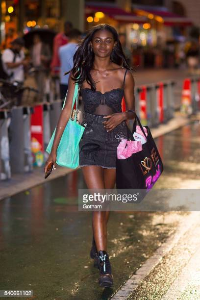Model Zuri Tibby is seen going to fittings for the 2017 Victoria's Secret Fashion Show in Midtown on August 29 2017 in New York City