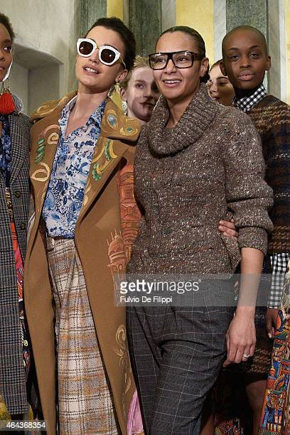 Modela and designer Stella Jean are seen backstage ahead of the Stella Jean show during the Milan Fashion Week Autumn/Winter 2015 on February 25,...