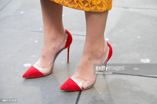 Modela and DJ Amber Le Bon wears an Emilia Wickstead dress and Gianvitto Rossi shoes on February 21 2015 in London England