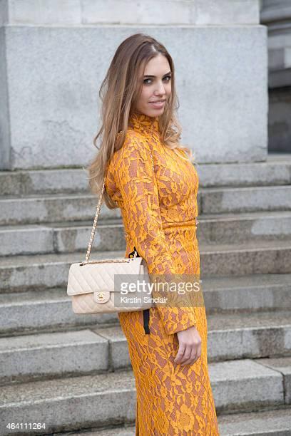 Modela and DJ Amber Le Bon wears an Emilia Wickstead dress Chanel bag on February 21 2015 in London England