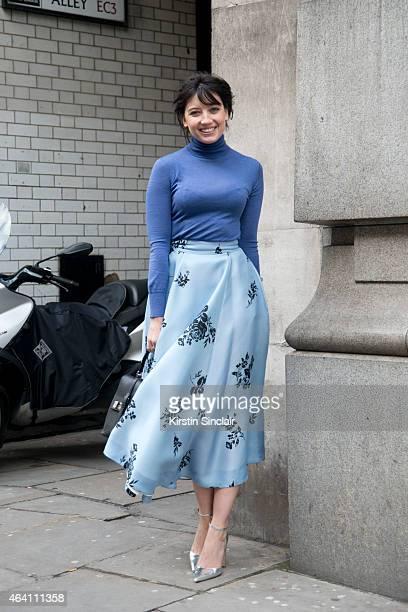 Modela and DJ Daisy Lowe wears an Emilia Wickstead skirt and top on February 21 2015 in London England