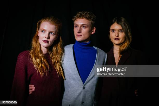 Modela are seen backstage ahead of the Greenshowroom Ethical Fashion Show Berlin at Kraftwerk Mitte on January 17 2018 in Berlin Germany
