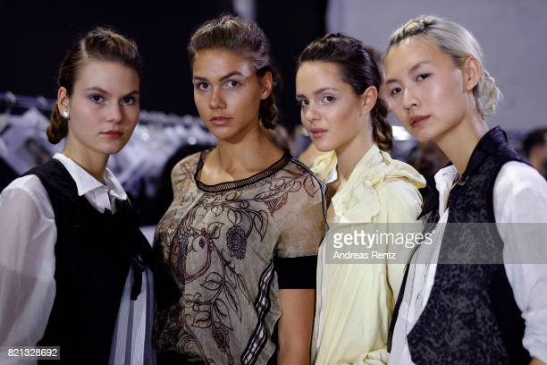 Modela are seen backstage ahead of the PF Selected show during Platform Fashion July 2017 at Areal Boehler on July 23 2017 in Duesseldorf Germany